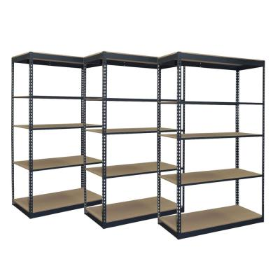 3-Pack Black 4-Tier Boltless Garage Storage Shelving Unit (48 in. W x 84 in. H x 24 in. D)