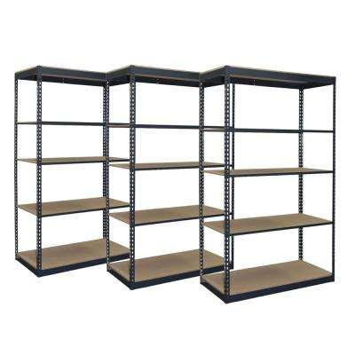 84 in. H x 48 in. W x 24 in. D Steel Boltless Shelving Unit Bundle with Particle Board Shelves and Tie Plates (3-Pack)