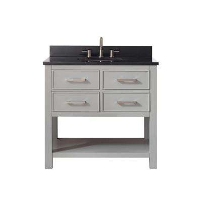 Brooks 37 in. W x 22 in. D x 35 in. H Vanity in Chilled Gray with Granite Vanity Top in Black and White Basin