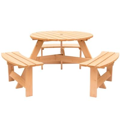 Stained 6-Person Round Wooden Outdoor Picnic Table with Bench for Patio with Umbrella Hole