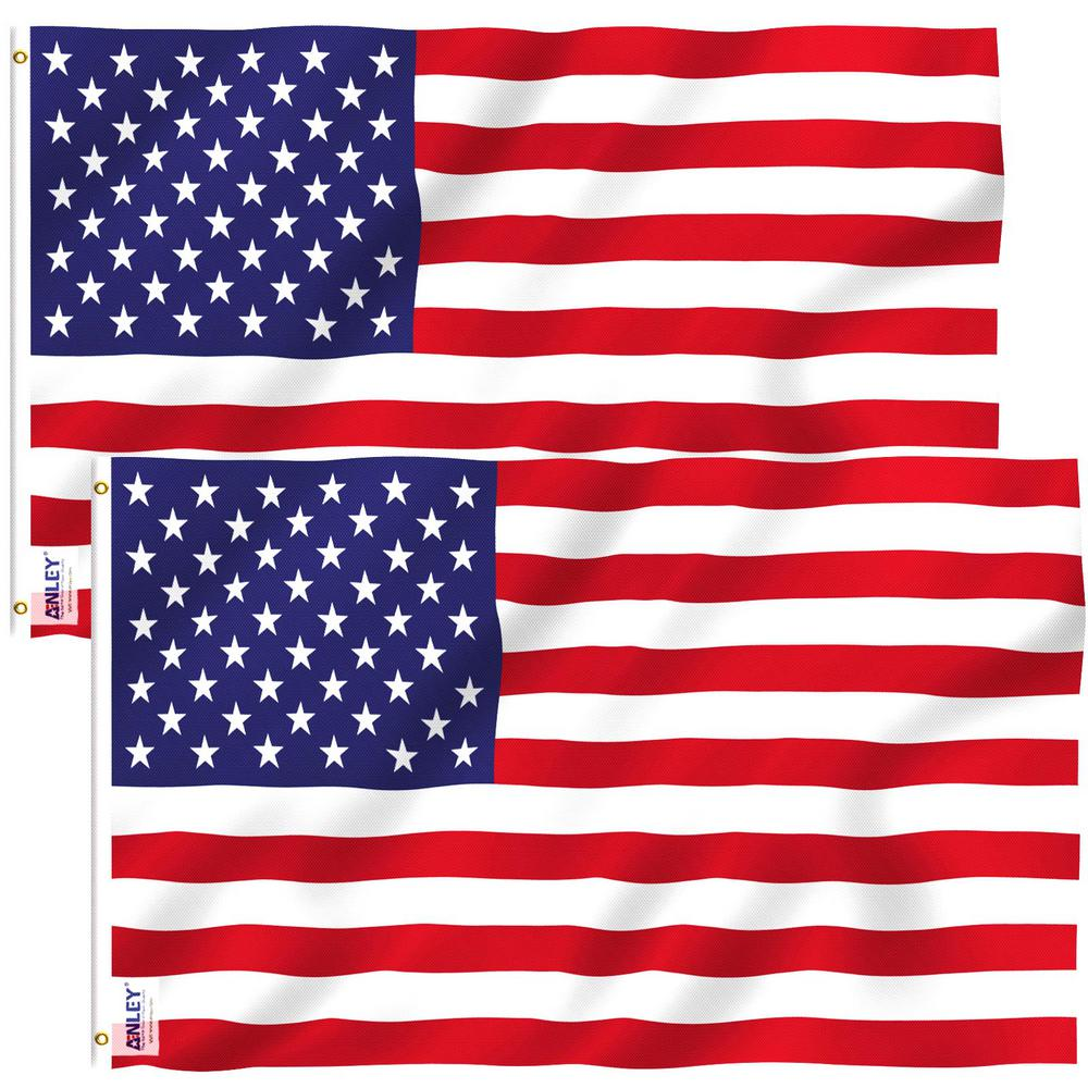Anley Fly Breeze 4 Ft X 6 Ft Polyester American Us Flag 2 Sided Flag Banner With Brass Grommets 2 Pack A Flag Us 4x6ft 2pc The Home Depot