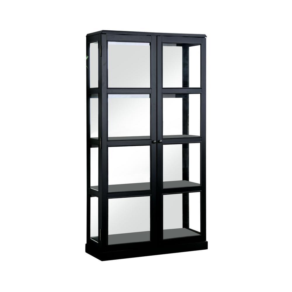 Jones Black China Cabinet With Window Panel Doors