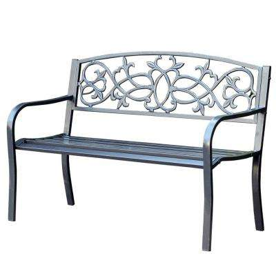 50 in. Scrolling Hearts Curved Back Steel Park Bench
