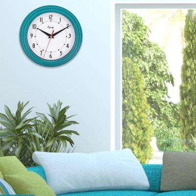8 in. x 8 in. Round Teal Blue Plastic Wall Clock