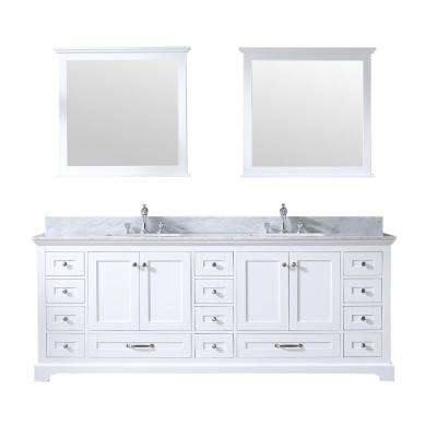 Dukes 84 in. Double Bath Vanity in White w/ White Carrera Marble Top w/ White Square Sinks and 34 in. Mirrors