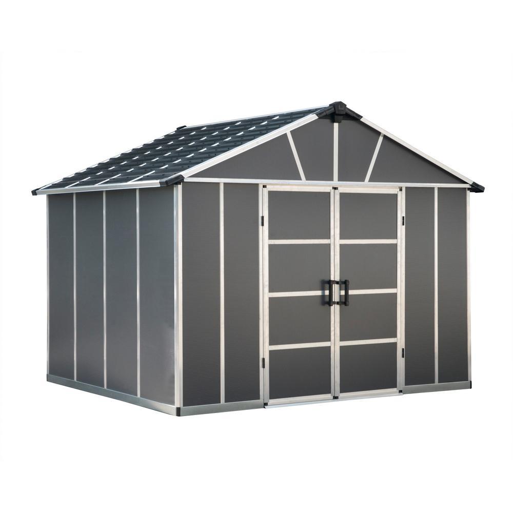 Palram Yukon 11 ft. W x 9 ft. D x 8.3 ft. H Dark Gray Storage Shed