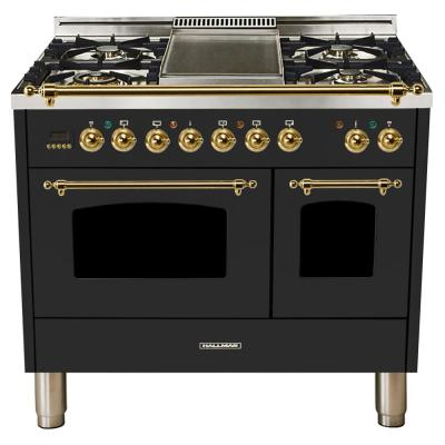40 in. 4.0 cu. ft. Double Oven Dual Fuel Italian Range True Convection, 5 Burners, Griddle, Brass Trim in Matte Graphite