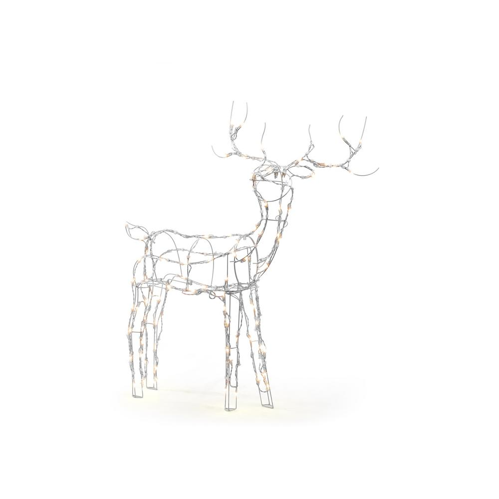 home accents holiday 52 in  120-light led white wire reindeer-ty070-1713