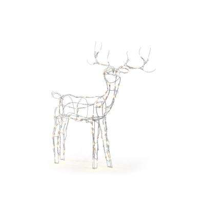 52 In 120 Light Led White Wire Reindeer