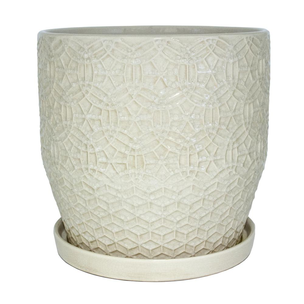 Trendspot 12 in. Dia Ivory Rivage Ceramic Planter