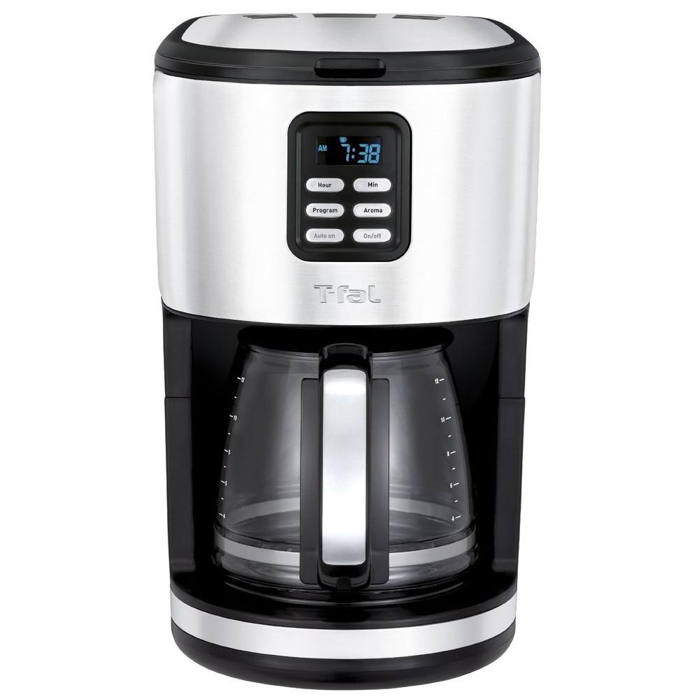 T-Fal 12-Cup Programmable Coffee Maker with Glass Carafe
