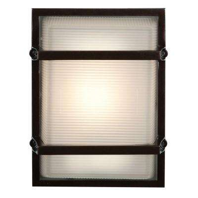Neptune 1-Light Bronze Metal Outdoor Sconce with Ribbed Frosted Glass Shade
