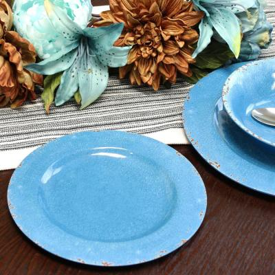 Mauna 12-Piece Rustic Cobalt Crackle Melamine Outdoor Dinnerware Set (Service for 4)