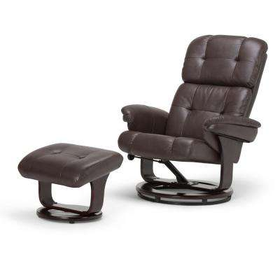 Merrin 33 in. Wide Contemporary Euro Recliner in Brown Faux Air Leather