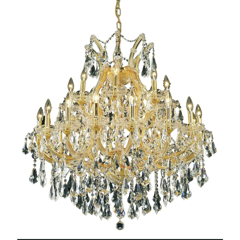 24-Light Gold Chandelier with Clear Crystal