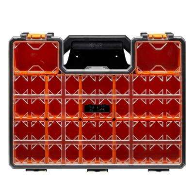 10-Compartment Wall Mount Pro-Go Deep Cup Small Parts Organizer, Orange