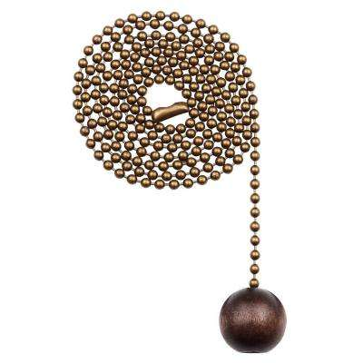 36 in. Walnut and Antique Brass Wooden Ball Pull Chain
