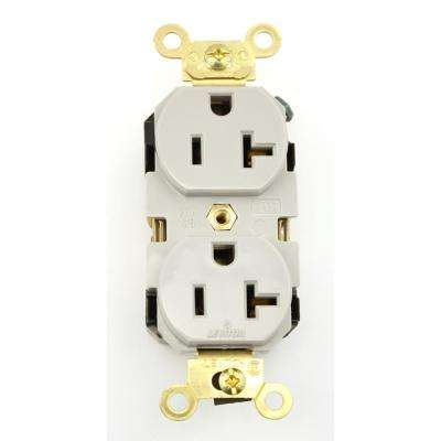 20 Amp Industrial Grade Extra Heavy Duty Self Grounding Duplex Outlet, Gray