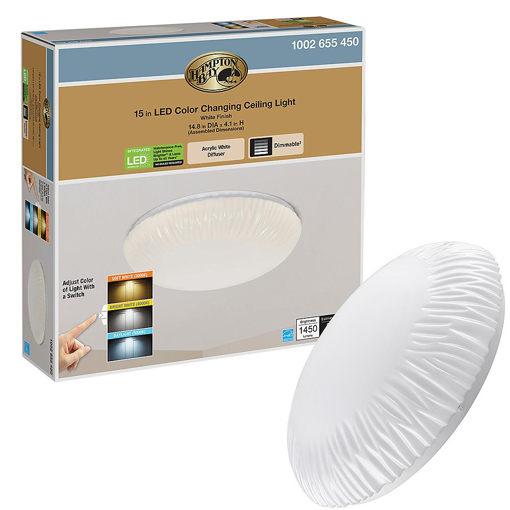 Hampton Bay 15 In White Falls Puff Color Selectable Led