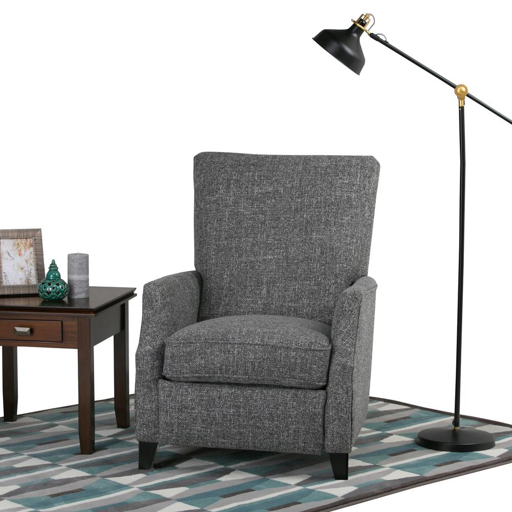 Simpli Home Noah Grey Tweed Look Fabric Push Arm Recliner (Set of 1)  sc 1 st  The Home Depot : home recliner - islam-shia.org