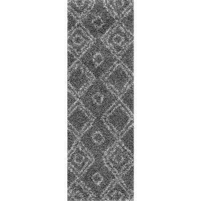 Iola Easy Shag Gray 3 ft. x 8 ft. Runner Rug