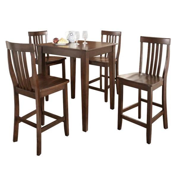 Crosley Furniture Mahogany Dining Set With School House Stools 5 Piece Kd520007ma The Home Depot