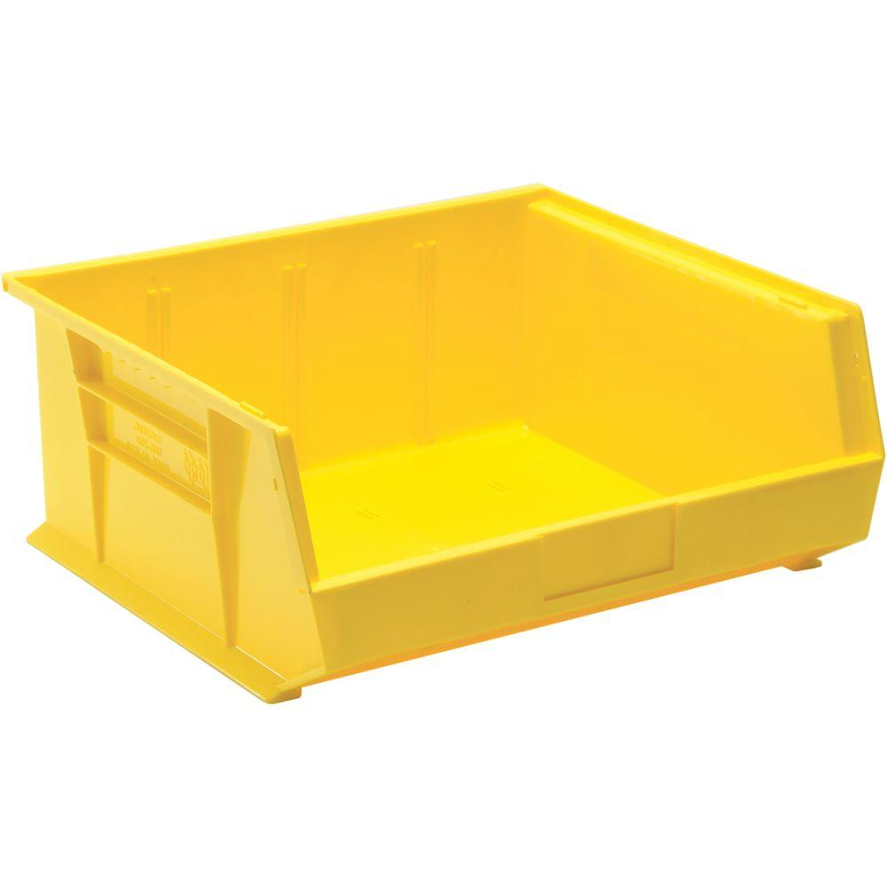 Edsal 6 8 Gal Stackable Plastic Storage Bin In Yellow 6