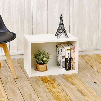 Eco Stackable zBoard 11.2 in. x 22.8 in. x 15.5 in. Tool-Free Assembly Rectangle Cubby Shelf Unit in Pearl White