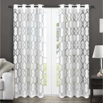 Rio 54 in. W x 108 in. L Sheer Grommet Top Curtain Panel in Winter White (2 Panels)