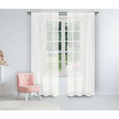 Luna 37 in. W x 84 in. L Polyester Window Panel in White-Gold