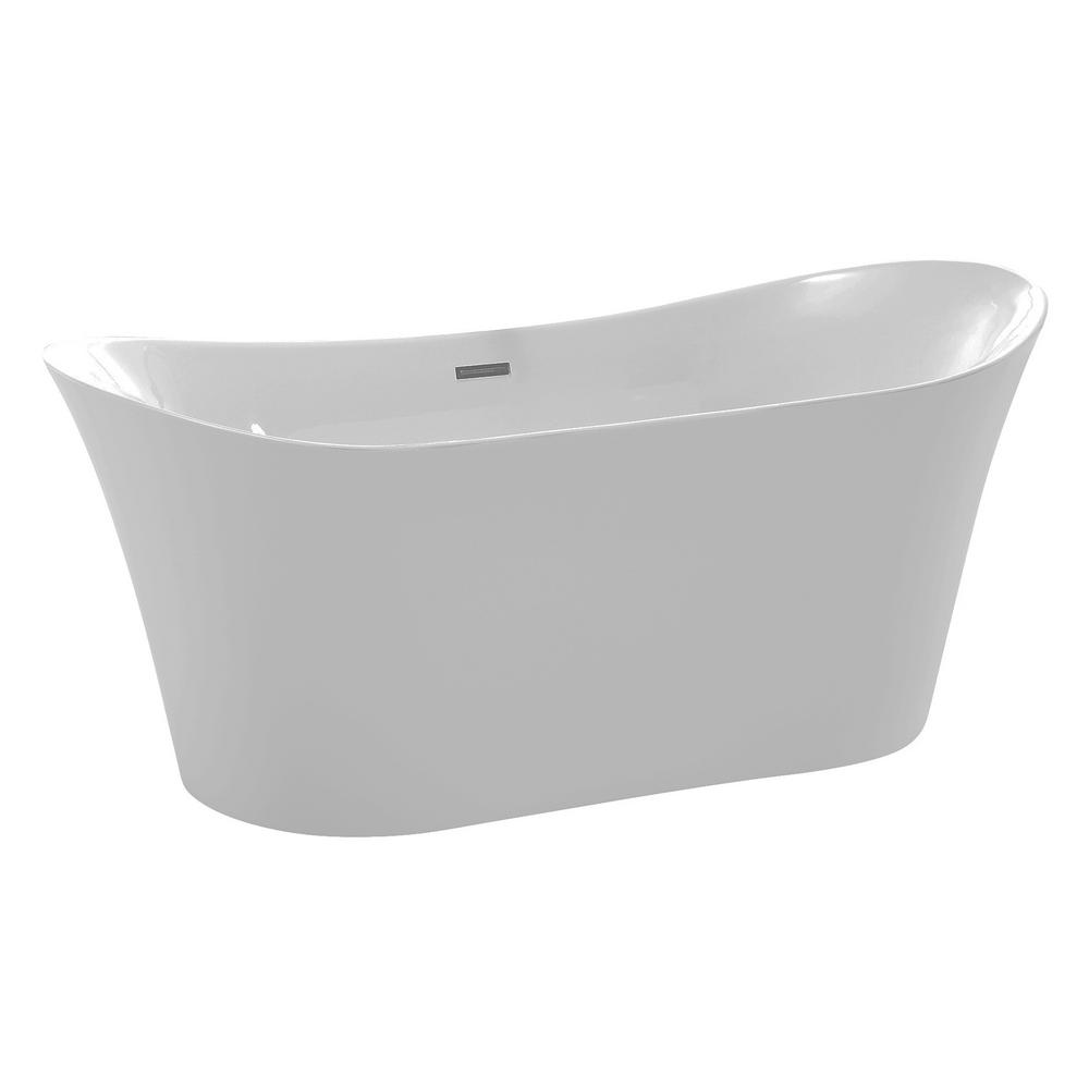ANZZI Eft 67 in. Acrylic Flatbottom Non-Whirlpool Bathtub in White