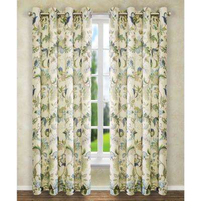 Brissac 50 in. W x 84 in. L Polyester Floral Lined Grommet Panel in Blue
