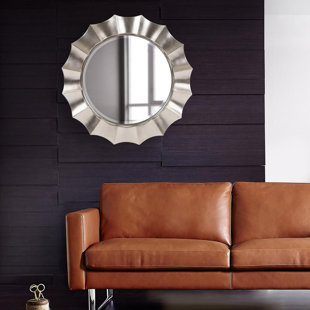 41 in. H x 41 in. W Round Corona Silver Mirror
