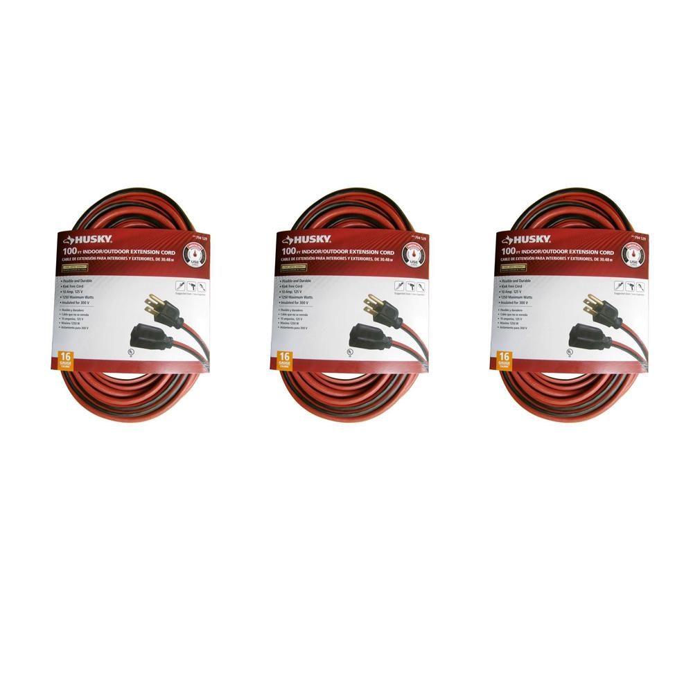 Husky 100 ft. 16/3 Indoor/Outdoor Extension Cord, Red and Black (3-Pack)