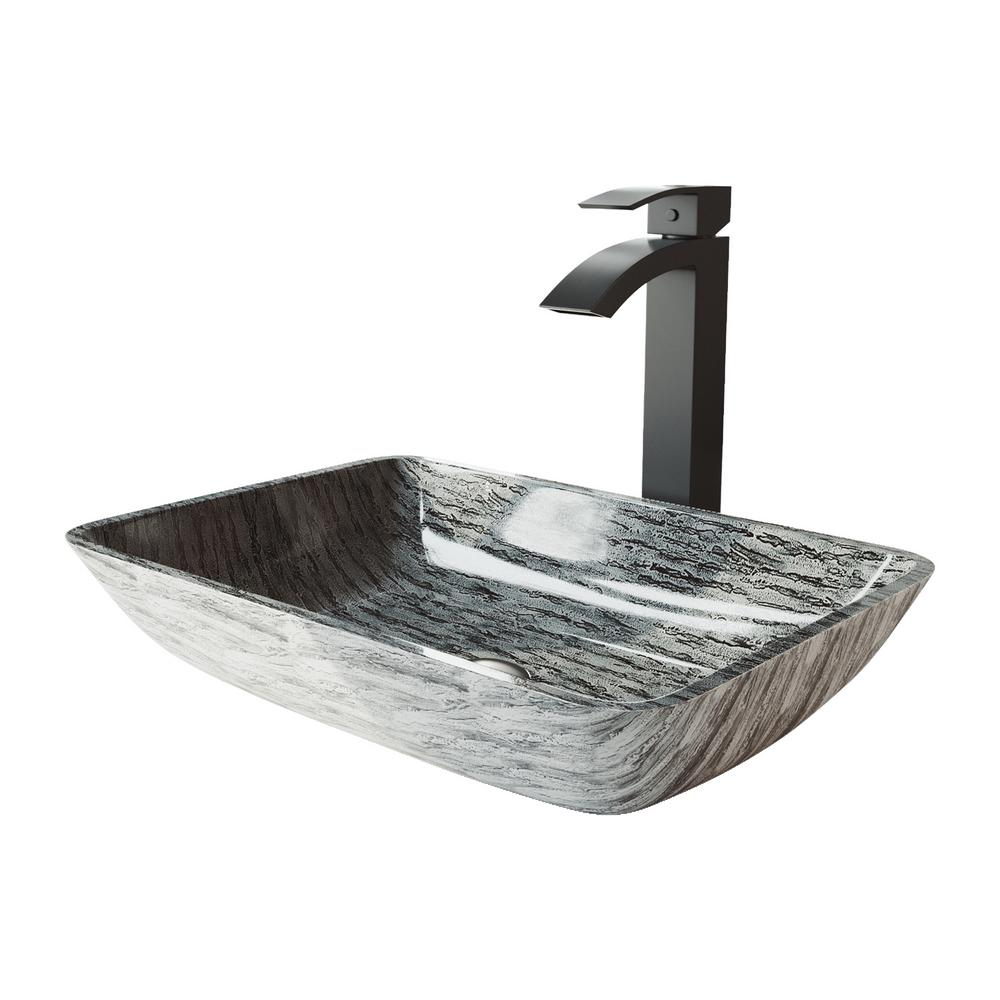 Vigo Rectangular Titanium Glass Vessel Bathroom Sink Set With Duris Vessel Faucet In Matte Black