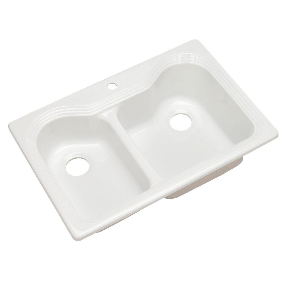 Thermocast Breckenridge Drop-In Acrylic 33 in. 1-Hole Double Bowl Kitchen Sink in White