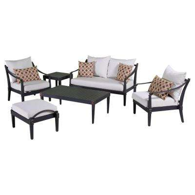 Astoria 6-Piece Love and Club Patio Deep Seating Set with Moroccan Cream Cushions