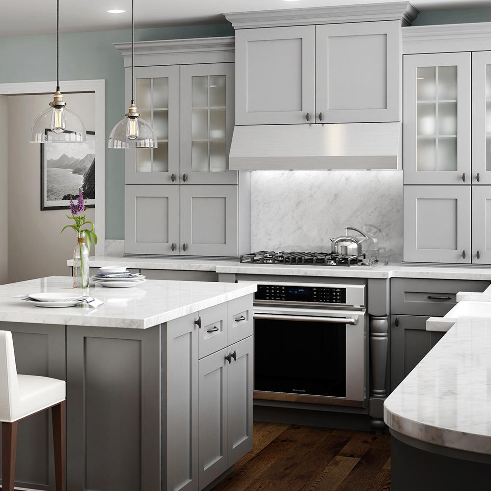 Home Decorators Collection Tremont Assembled 30x24x12 In Wall Kitchen Cabinet With 2 Soft Close Doors In Pearl Gray W3024 Tpg The Home Depot