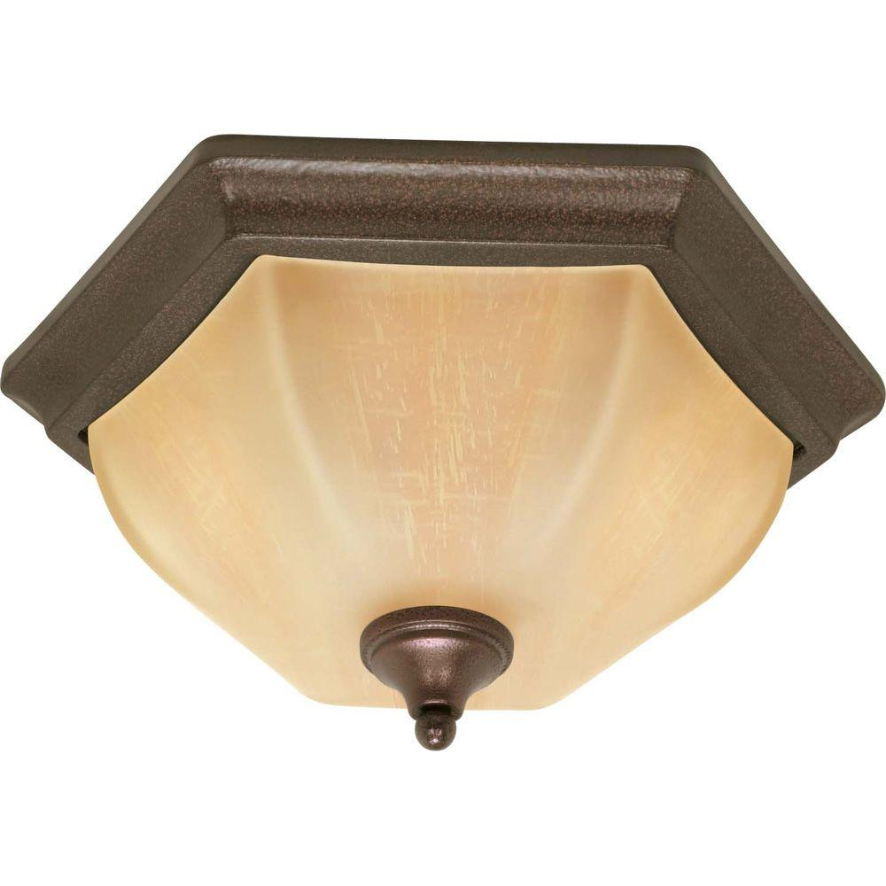 Glomar 2-Light Copper Bronze Hexagon Shaped Flush Mount