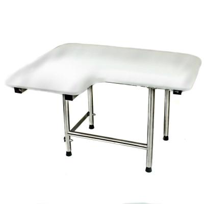 34 in W x 21 in D L-Shaped Right Hand White Padded Folding Shower Seat with Swing Down Legs