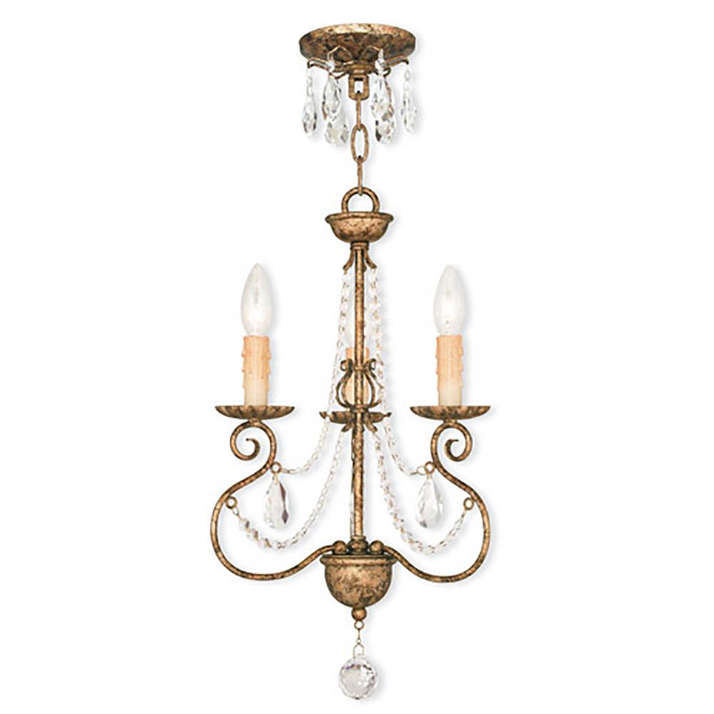 Livex Lighting Isabella 3-Light European Bronze Mini Chandelier