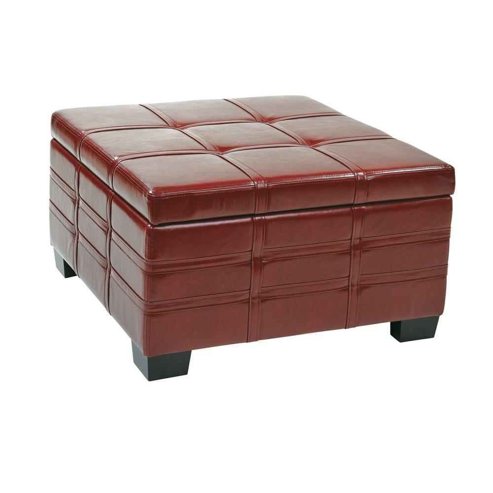 Detour Crimson Red Storage Ottoman