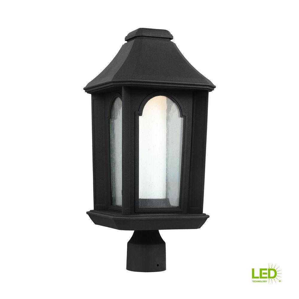Ellerbee Outdoor 19 875 In Textured Black Led Post Lantern