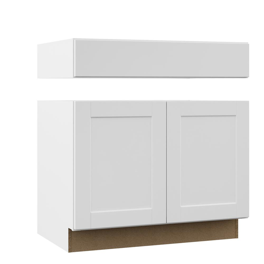 Magnificent Hampton Bay Shaker Assembled 36X34 5X24 In Accessible Ada Sink Base Kitchen Cabinet In Satin White Home Interior And Landscaping Palasignezvosmurscom