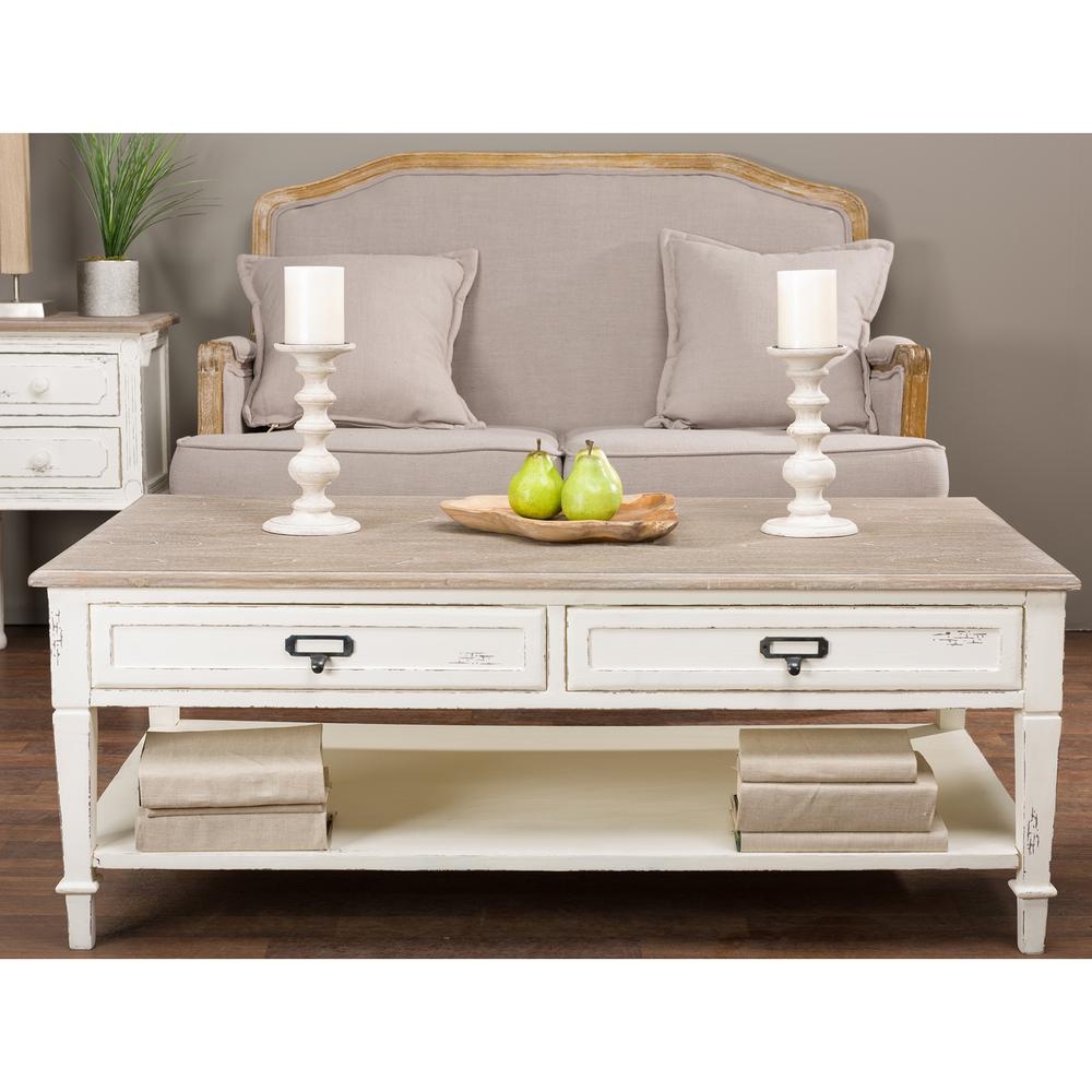 Dauphine White and Light Brown Coffee Table