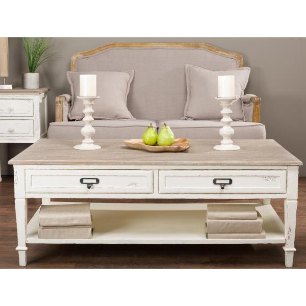 Baxton Studio Dauphine White and Light Brown Coffee Table 28862-6029-HD