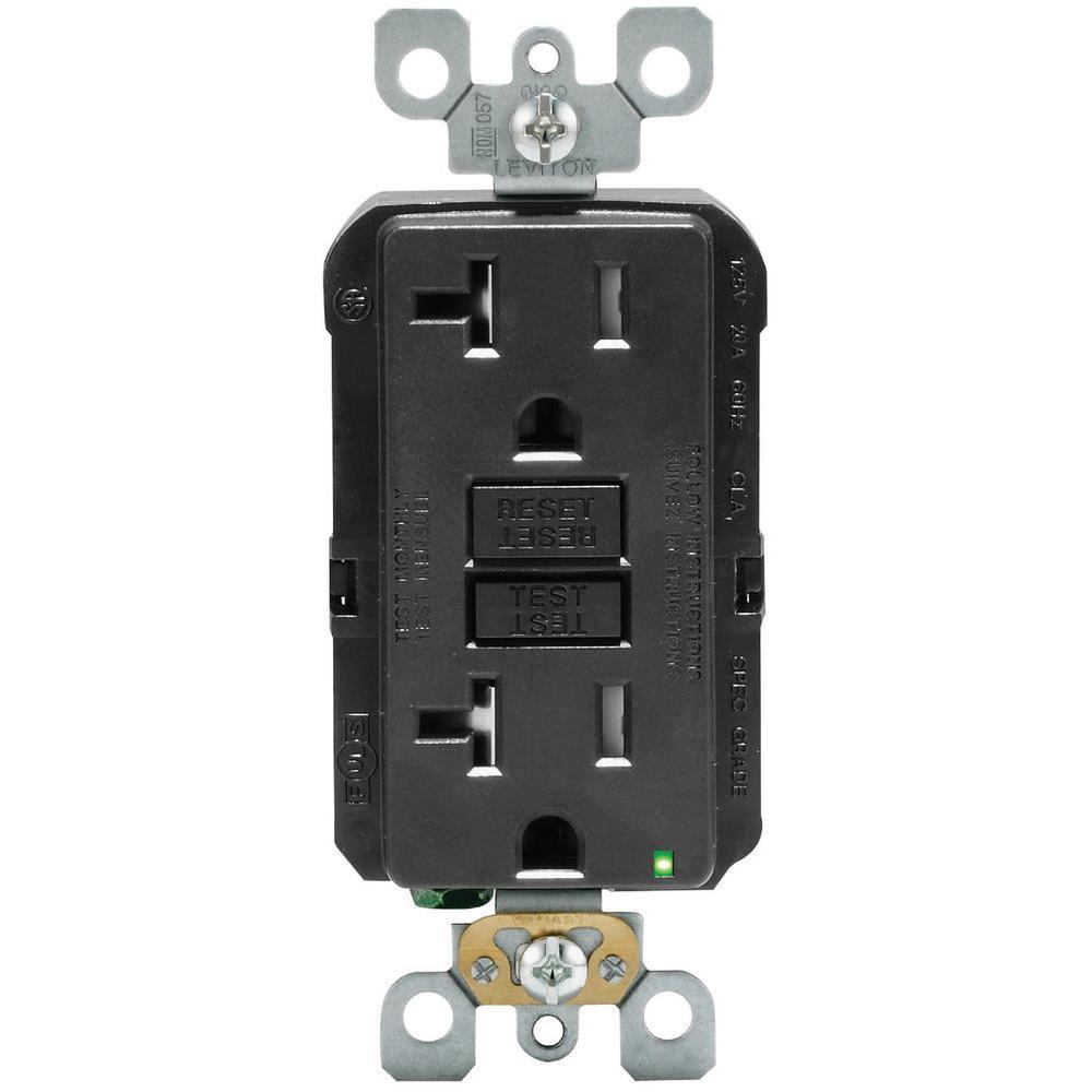 20 Amp 125-Volt Duplex SmarTest Self-Test Tamper Resistant GFCI Outlet, Black