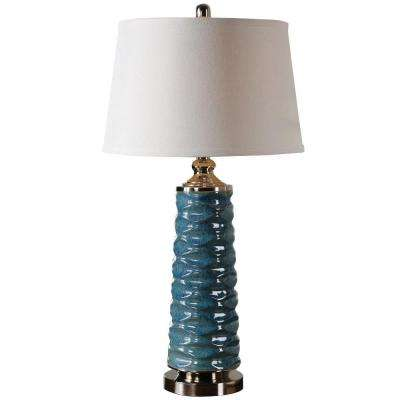32 in. Rust Blue Table Lamp