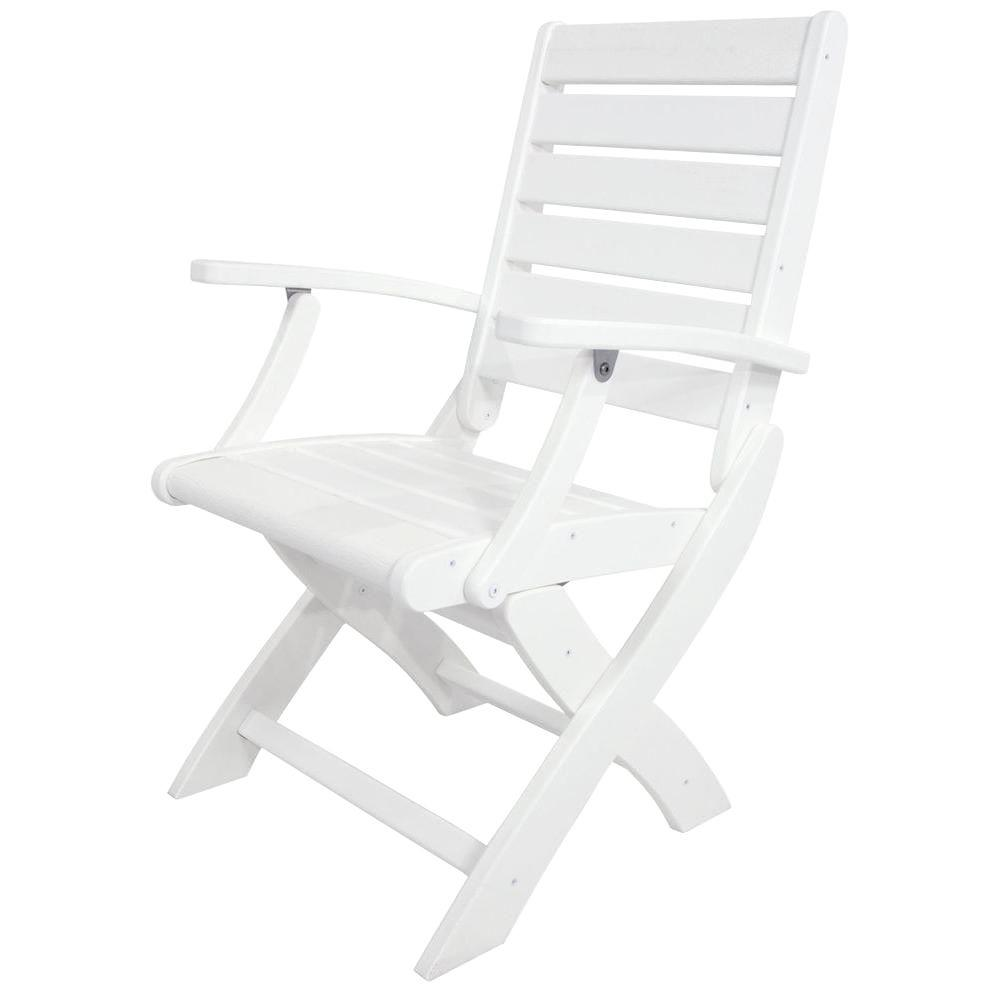 Polywood Signature White Patio Folding Chair 1900 Wh The Home Depot