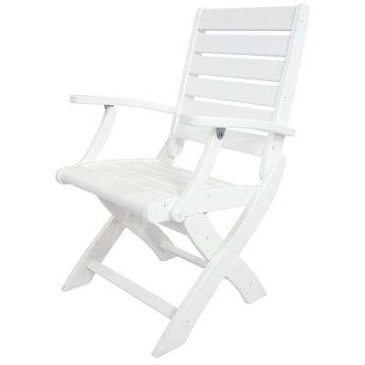 POLYWOOD Signature White Patio Folding Chair by POLYWOOD